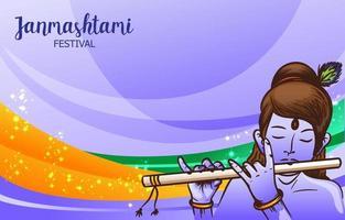 modelo de plano de fundo do festival janmashtami vetor
