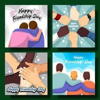 feliz dia da amizade conjunto de cartões vetor