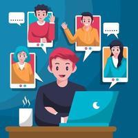 vetor reunião digital virtual reunião online