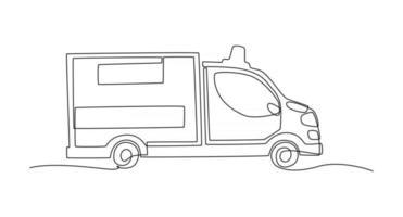 desenho de linha contínua de ilustração vetorial de carro de ambulância vetor