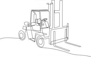 desenho de linha contínua de uma ilustração vetorial de empilhadeira vetor
