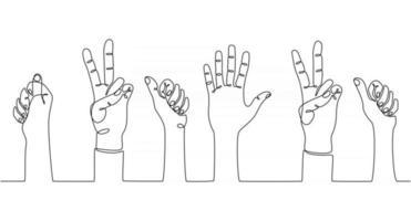 desenho de linha contínua de pessoas com mãos levantadas, votando ilustração vetorial vetor