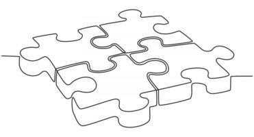 desenho de linha contínua de ilustração vetorial de peça de quebra-cabeça vetor
