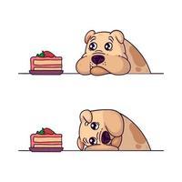o bulldog olha para um pedaço de bolo. treinamento de resistência com seu cão. obesidade de animais de estimação. ilustração vetorial isolada no fundo branco. vetor