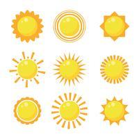 conjunto de clipart de design plano sol vetor