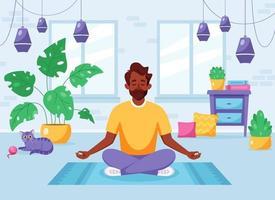 homem indiano meditando em posição de lótus no interior moderno e aconchegante. estilo de vida saudável vetor