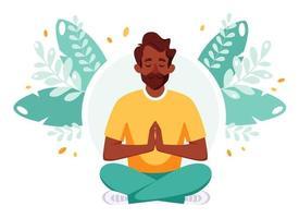 homem indiano meditando na posição de lótus. estilo de vida saudável, ioga, relaxamento, recreação. vetor