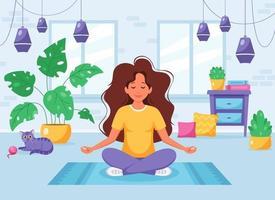 mulher meditando na posição de lótus em um interior moderno e aconchegante vetor