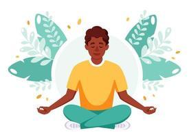 homem afro-americano meditando na posição de lótus. dia internacional da ioga vetor