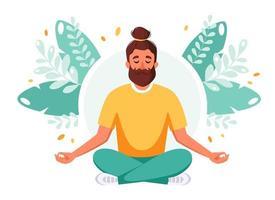 homem meditando na posição de lótus. estilo de vida saudável, relaxamento, meditação. vetor