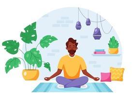 homem negro meditando na posição de lótus no interior moderno e aconchegante. estilo de vida saudável vetor