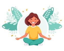 menina meditando na posição de lótus. ginástica, meditação para crianças. vetor