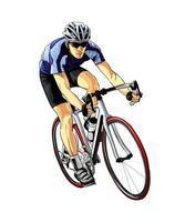 ciclista abstrato em uma pista de corrida de respingos de aquarelas, desenho colorido, realista, atleta de bicicleta. ilustração vetorial de tintas vetor