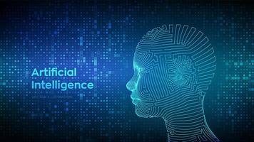 ai. conceito de inteligência artificial. rosto humano digital wireframe abstrato em fundo de código binário digital de matriz de streaming. cabeça humana na interpretação do computador digital do robô. vetor