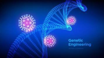 sequência de DNA e células do vírus de infecção covid-19. coronavirus 2019-ncov. nova bactéria coronavírus abstrata. Malha de estrutura de moléculas de DNA. histórico médico de risco de pandemia. vetor