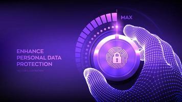 botão de botão de níveis de segurança de privacidade. aumentar o nível de proteção de dados pessoais. wireframe mão girando um botão de teste seguro privado para a posição máxima. identificação biométrica. vetor