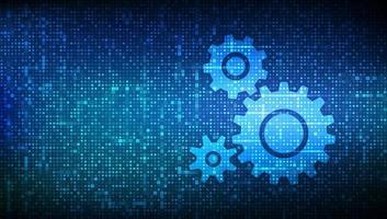 plano de fundo do software de automação. ícones de engrenagens feitos com código binário. conceito de iot e automação. dados binários digitais e código digital de streaming. fundo da matriz com dígitos 1.0. vetor