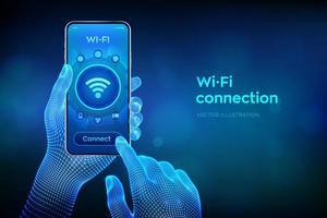conceito de conexão sem fio wi fi. conceito de internet de tecnologia de sinal de rede wi-fi gratuito. closeup smartphone nas mãos de wireframe. zona de conexão móvel. transferência de dados. vetor
