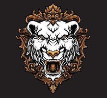 cabeça de tigre branco vetor