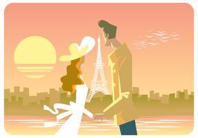 Casal Em Vetor De Paris