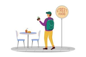 comprando ilustração em vetor plana comida de rua. ideias de viagens baratas. comer uma refeição não cara. Ideias de lanches para jovens. turismo de orçamento isolado personagem de desenho animado em fundo branco