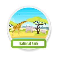 distintivo de vetor de cor plana de parque nacional. observação de animais. trp para conservação. turismo, viagem. Etiqueta gráfica da expedição da savana africana. elemento de design de desenho animado isolado de vida selvagem