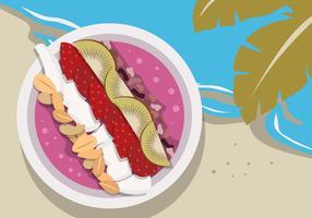 Ilustração em vetor verão saudável comida cor Açaí tigela