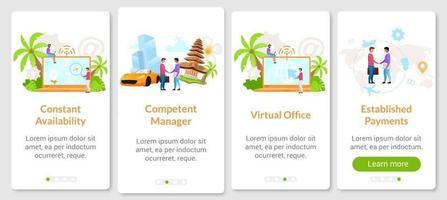 modelo de vetor de tela de aplicativo móvel de integração de negócios indonésio. escritório virtual, provedor de internet. passo a passo do site com caracteres planos. conceito de interface de desenho animado de smartphone ux, ui, gui
