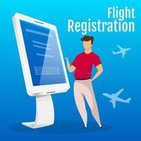 maquete de postagem de mídia social de quiosque de registro de voo. modelo de design de banner da web do painel interativo do aeroporto. impulsionador do contador de autoatendimento, layout de conteúdo com inscrição. pôster e ilustração plana vetor