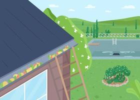 limpeza de telhado de primavera de folhas ilustração vetorial de cor lisa vetor