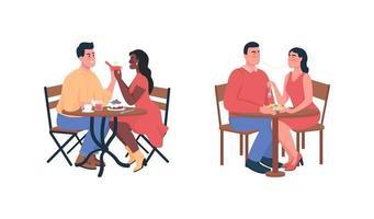 casal durante jantar romântico conjunto de caracteres detalhados de vetor de cor plana