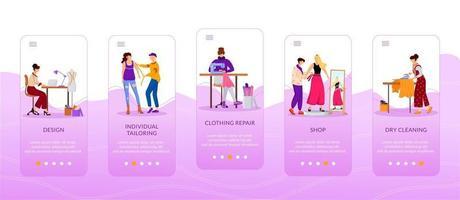 designers de moda integrando modelo de vetor plano de tela de aplicativo móvel alfaiataria individual. conserto de roupas. passo a passo do site com personagens. ux, ui, interface gui de smartphone, conjunto de estampas de capa