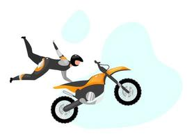 ilustração vetorial plana de acrobacias de motocicleta. Esportes extremos. estilo de vida ativo. dublê de salto aéreo. atividades ao ar livre. piloto com personagem de desenho animado isolado de moto sobre fundo azul vetor