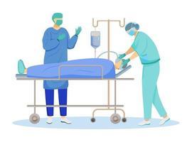 ilustração em vetor plana operação cirúrgica. Medicina Interna. anestesista e cirurgião com personagens de desenhos animados do paciente. procedimento médico, reanimação. conceito de cirurgia isolado no fundo branco