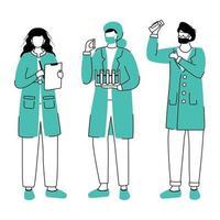 cientistas em jalecos ilustração vetorial contorno plana. realização de experimento desenho simples. mulheres com tubos de ensaio, personagens de desenhos animados isolados reativos em fundo branco vetor