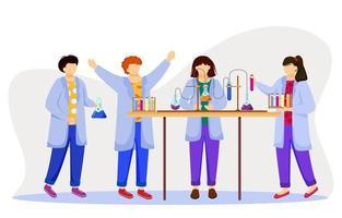 ilustração em vetor plana aula de ciências. estudando medicina, química. realização de experimento. crianças em jalecos com tubos de ensaio, frascos de laboratório isolados de personagens de desenhos animados no fundo branco