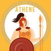 Maquete de postagem de mídias sociais de Athene laranja. deusa grega. figura mitológica divina. modelo de design de banner da web. impulsionador de mídia social, layout de conteúdo. pôster, cartão para impressão com ilustrações planas vetor