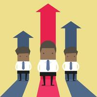 empresário africano ficar com gráfico crescente. vetor