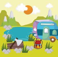 acampamento campista paisagem vetor