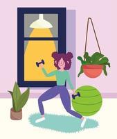 menina fazendo exercícios vetor