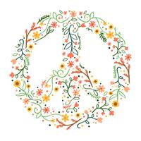 Sinal de paz floral bonito vetor