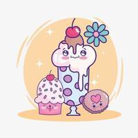 bolinho de bolo de milkshake fofo vetor