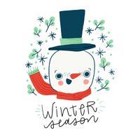 Boneco de neve bonito que sorri e folheia ao redor. vetor