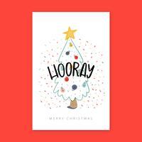 Árvore De Natal Com Cartão Dos Confetes. vetor