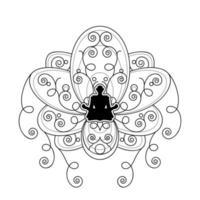 silhueta humana com modelo de vetor de flor de lótus