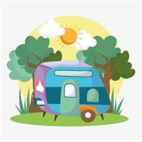 acampamento campista floresta vetor