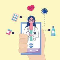 médico online telemedicina vetor