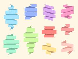 Conjunto de faixa plana fita origami vetor