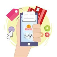 pagamento online móvel vetor