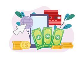 clique de pagamento online vetor